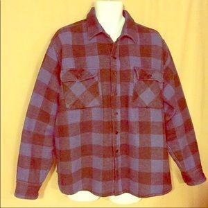 Alpine Ridge Rugged Wear blue plaid shirt VINT XL